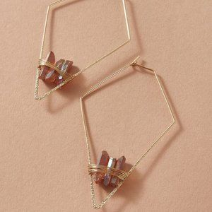 NEW 1pair Stone Decor Irregular Geometric Earrings